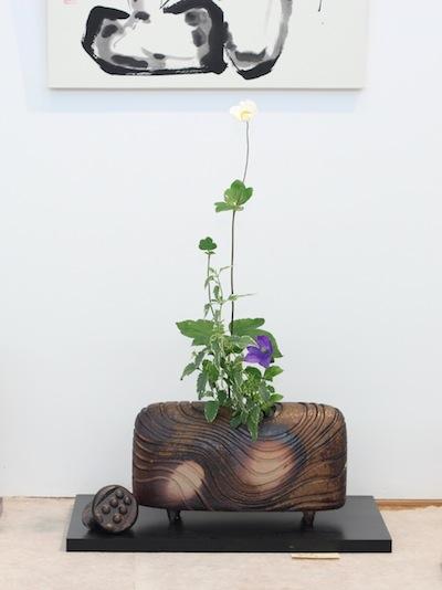 小西陶藏/蓋付き横長花器「流」